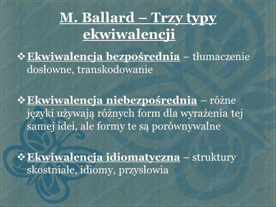 M. Ballard – Trzy typy ekwiwalencji