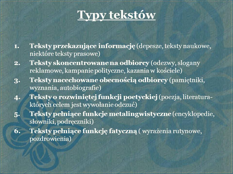 Typy tekstów Teksty przekazujące informację (depesze, teksty naukowe, niektóre teksty prasowe)