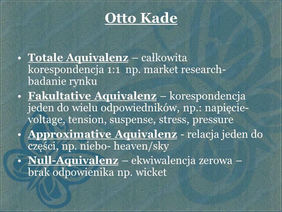 Otto Kade Totale Aquivalenz – całkowita korespondencja 1:1 np. market research- badanie rynku.
