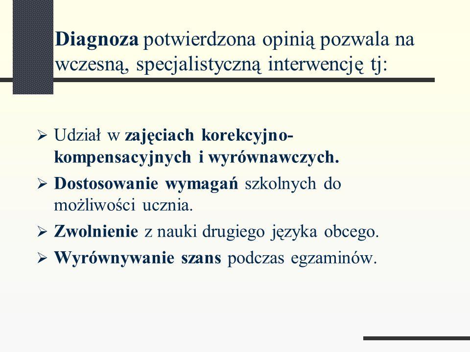 Diagnoza potwierdzona opinią pozwala na wczesną, specjalistyczną interwencję tj: