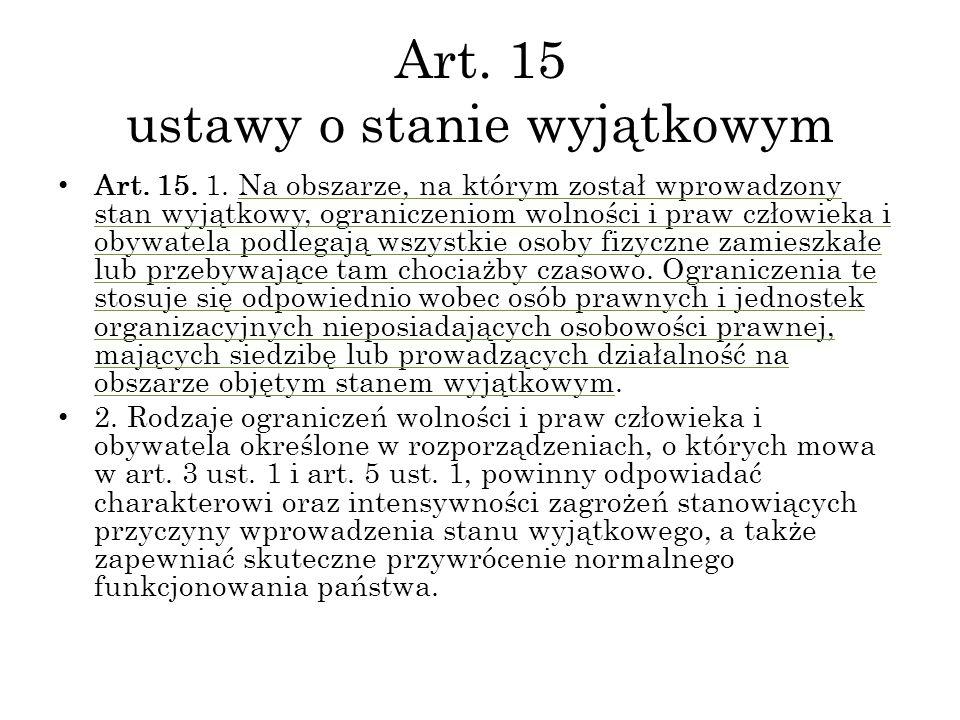 Art. 15 ustawy o stanie wyjątkowym
