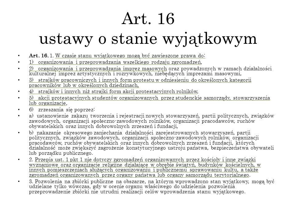 Art. 16 ustawy o stanie wyjątkowym