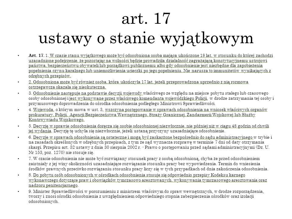 art. 17 ustawy o stanie wyjątkowym