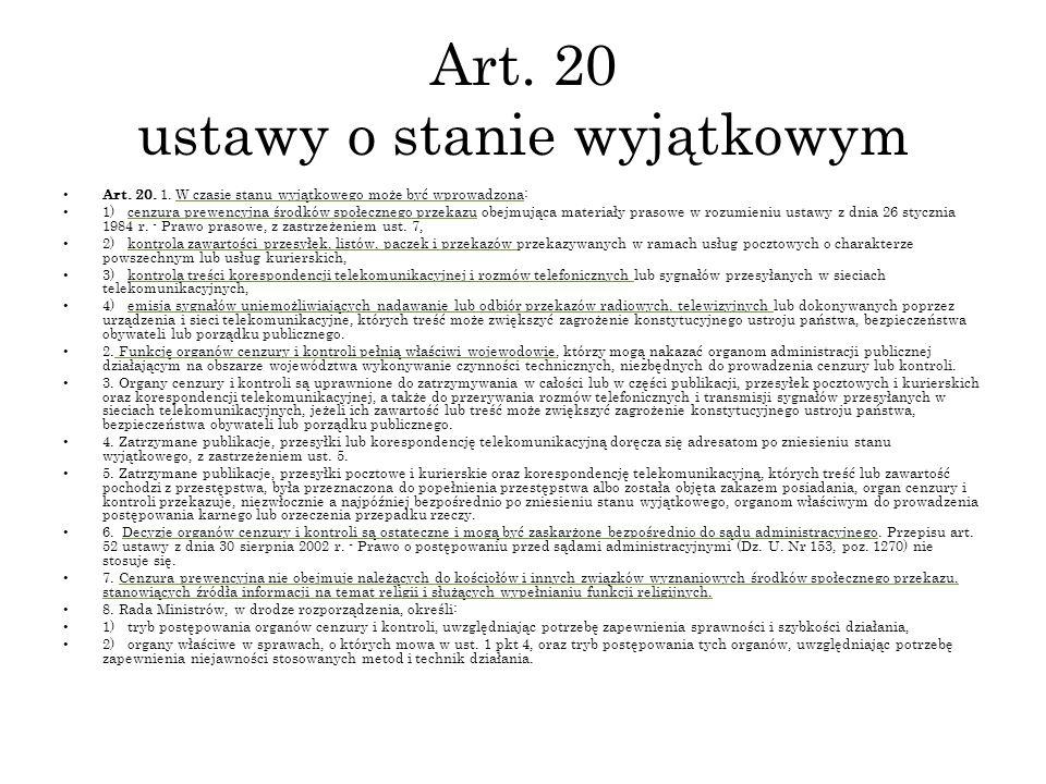 Art. 20 ustawy o stanie wyjątkowym