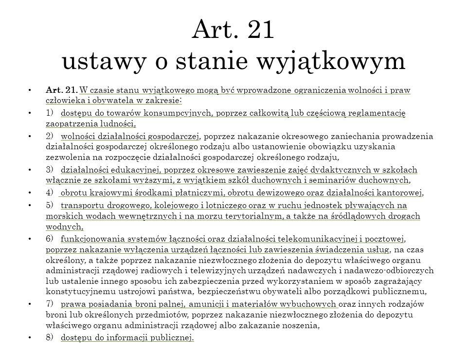 Art. 21 ustawy o stanie wyjątkowym
