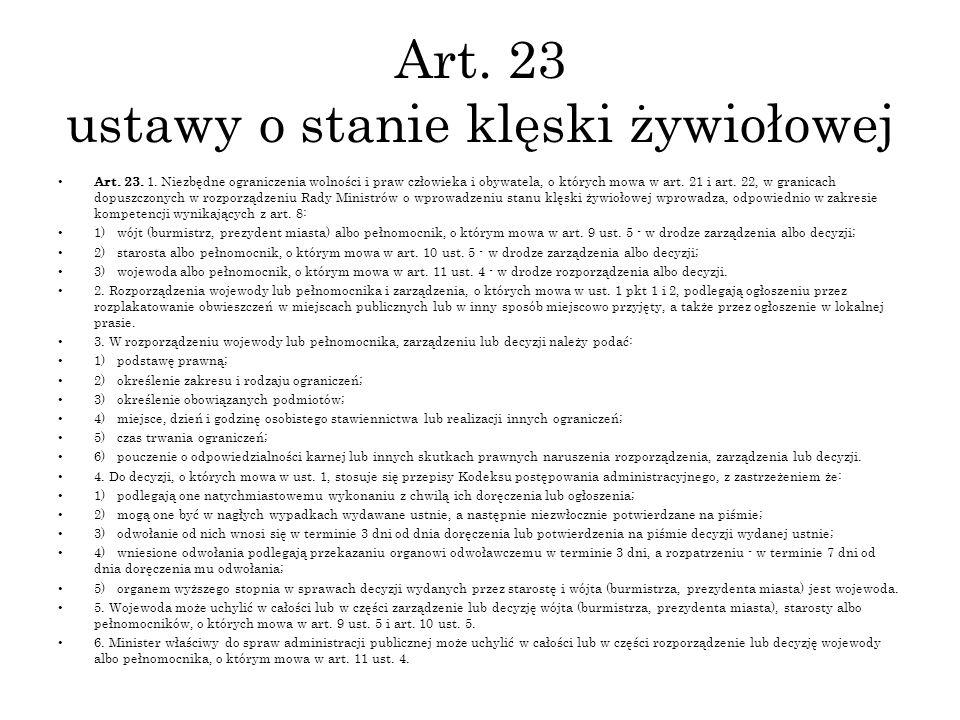 Art. 23 ustawy o stanie klęski żywiołowej