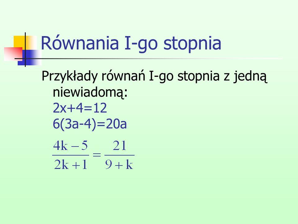 Równania I-go stopnia Przykłady równań I-go stopnia z jedną niewiadomą: 2x+4=12 6(3a-4)=20a