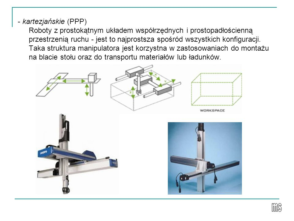 - kartezjańskie (PPP) Roboty z prostokątnym układem współrzędnych i prostopadłościenną przestrzenią ruchu - jest to najprostsza spośród wszystkich konfiguracji. Taka struktura manipulatora jest korzystna w zastosowaniach do montażu na blacie stołu oraz do transportu materiałów lub ładunków.