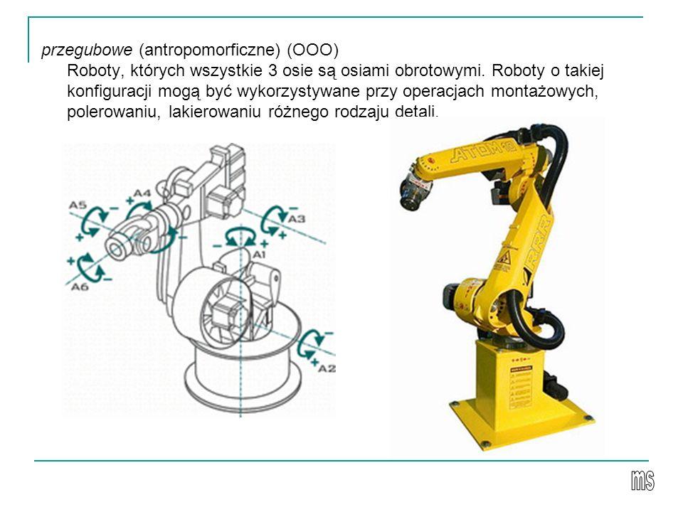 przegubowe (antropomorficzne) (OOO) Roboty, których wszystkie 3 osie są osiami obrotowymi. Roboty o takiej konfiguracji mogą być wykorzystywane przy operacjach montażowych, polerowaniu, lakierowaniu różnego rodzaju detali.