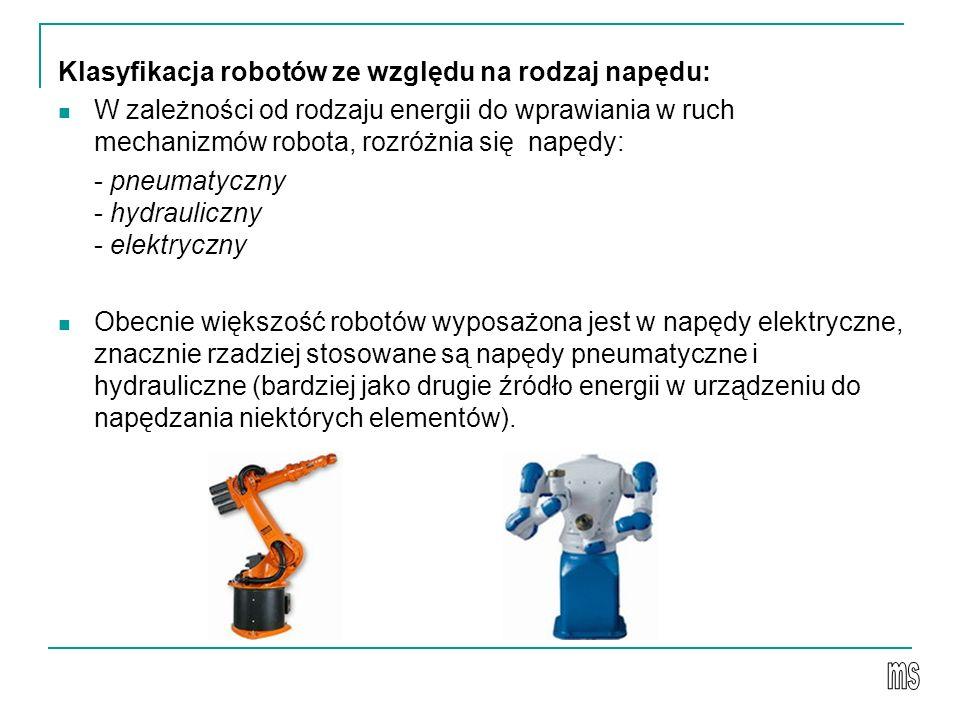Klasyfikacja robotów ze względu na rodzaj napędu: