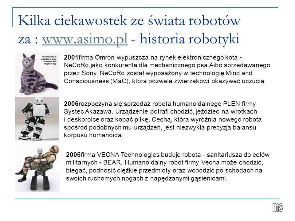 Kilka ciekawostek ze świata robotów za : www. asimo