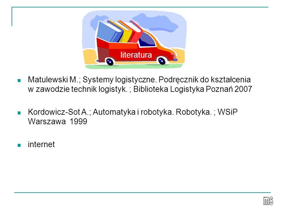 literatura Matulewski M.; Systemy logistyczne. Podręcznik do kształcenia w zawodzie technik logistyk. ; Biblioteka Logistyka Poznań 2007.