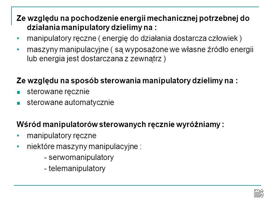 manipulatory ręczne ( energię do działania dostarcza człowiek )