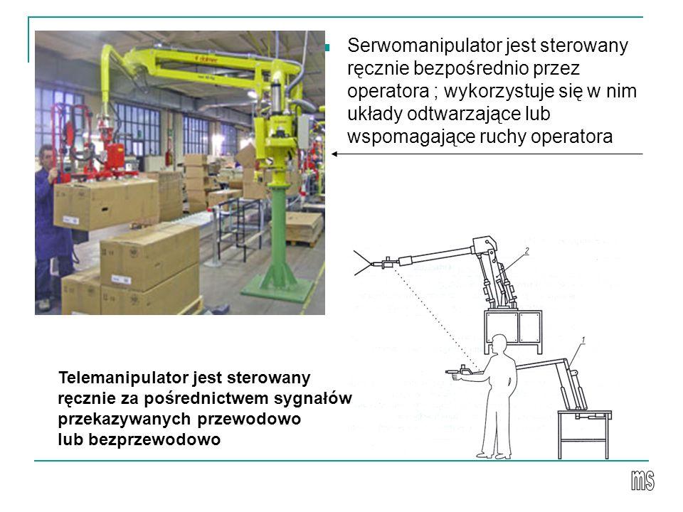 Serwomanipulator jest sterowany ręcznie bezpośrednio przez operatora ; wykorzystuje się w nim układy odtwarzające lub wspomagające ruchy operatora