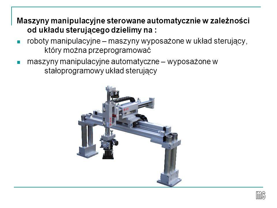 Maszyny manipulacyjne sterowane automatycznie w zależności od układu sterującego dzielimy na :