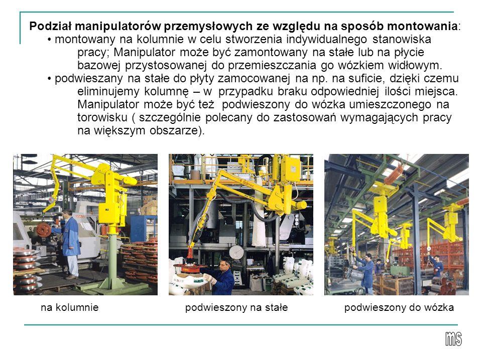 Podział manipulatorów przemysłowych ze względu na sposób montowania: • montowany na kolumnie w celu stworzenia indywidualnego stanowiska pracy; Manipulator może być zamontowany na stałe lub na płycie bazowej przystosowanej do przemieszczania go wózkiem widłowym. • podwieszany na stałe do płyty zamocowanej na np. na suficie, dzięki czemu eliminujemy kolumnę – w przypadku braku odpowiedniej ilości miejsca. Manipulator może być też podwieszony do wózka umieszczonego na torowisku ( szczególnie polecany do zastosowań wymagających pracy na większym obszarze).