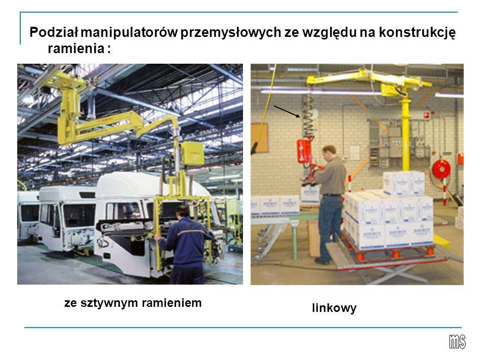 Podział manipulatorów przemysłowych ze względu na konstrukcję ramienia :