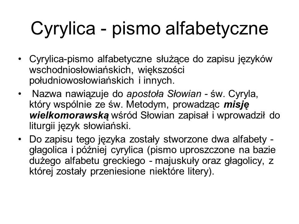 Cyrylica - pismo alfabetyczne