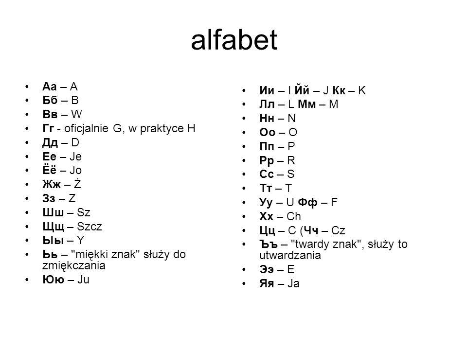 alfabet Аа – A Ии – I Йй – J Кк – K Бб – B Лл – L Мм – M Вв – W Нн – N