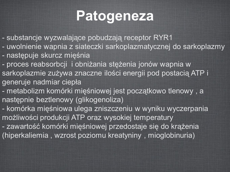 Patogeneza - substancje wyzwalające pobudzają receptor RYR1