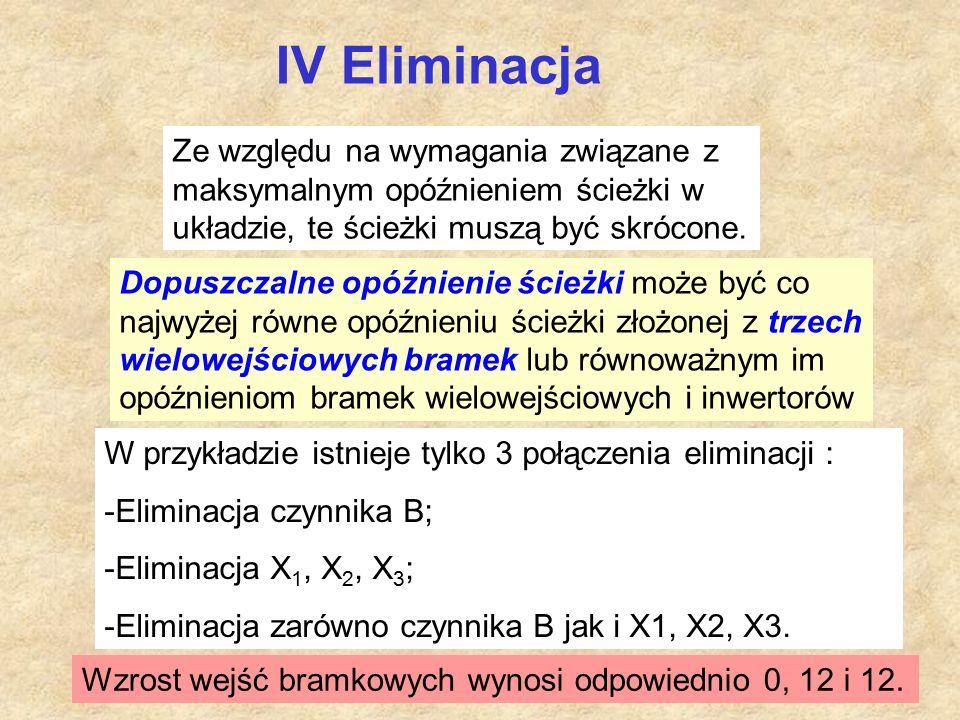 IV Eliminacja Ze względu na wymagania związane z maksymalnym opóźnieniem ścieżki w układzie, te ścieżki muszą być skrócone.