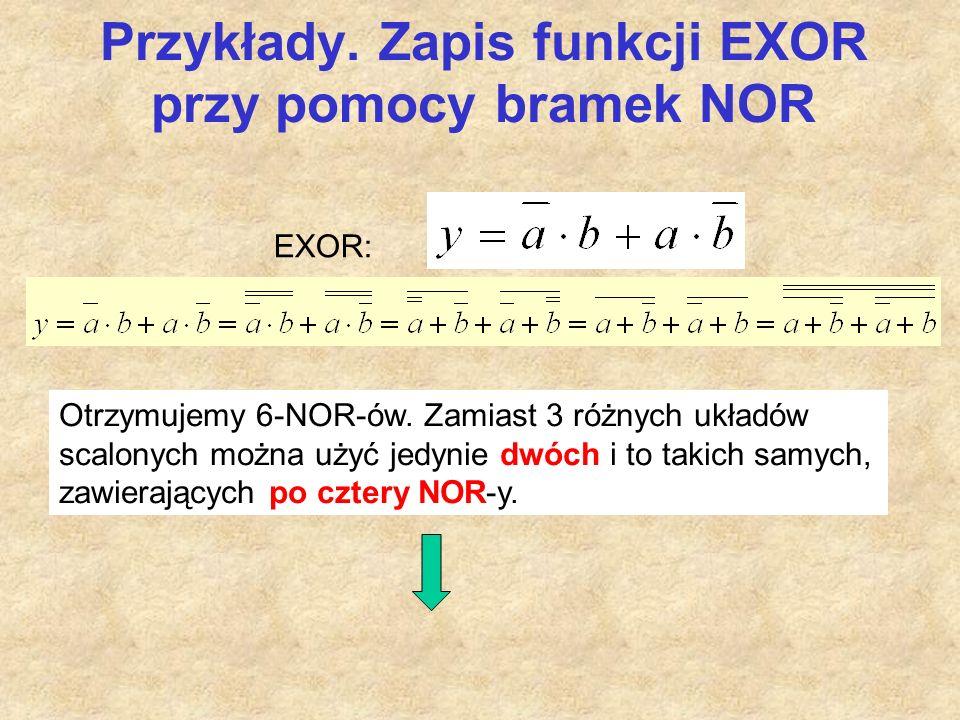 Przykłady. Zapis funkcji EXOR przy pomocy bramek NOR