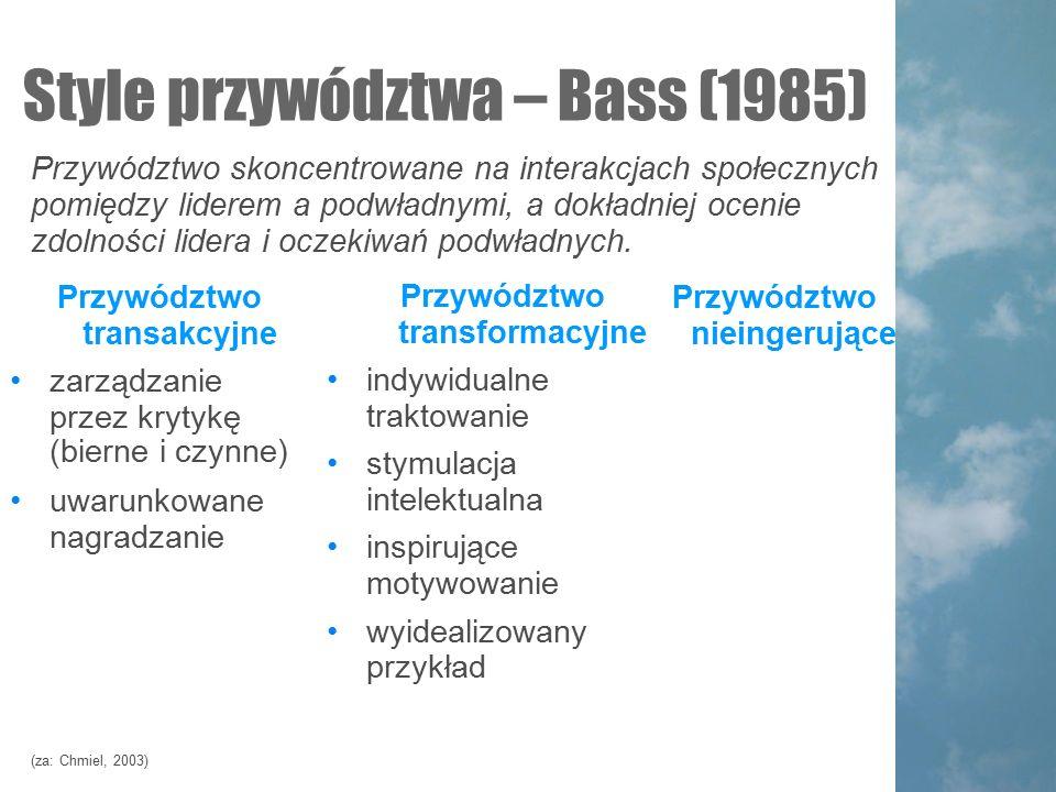 Style przywództwa – Bass (1985)