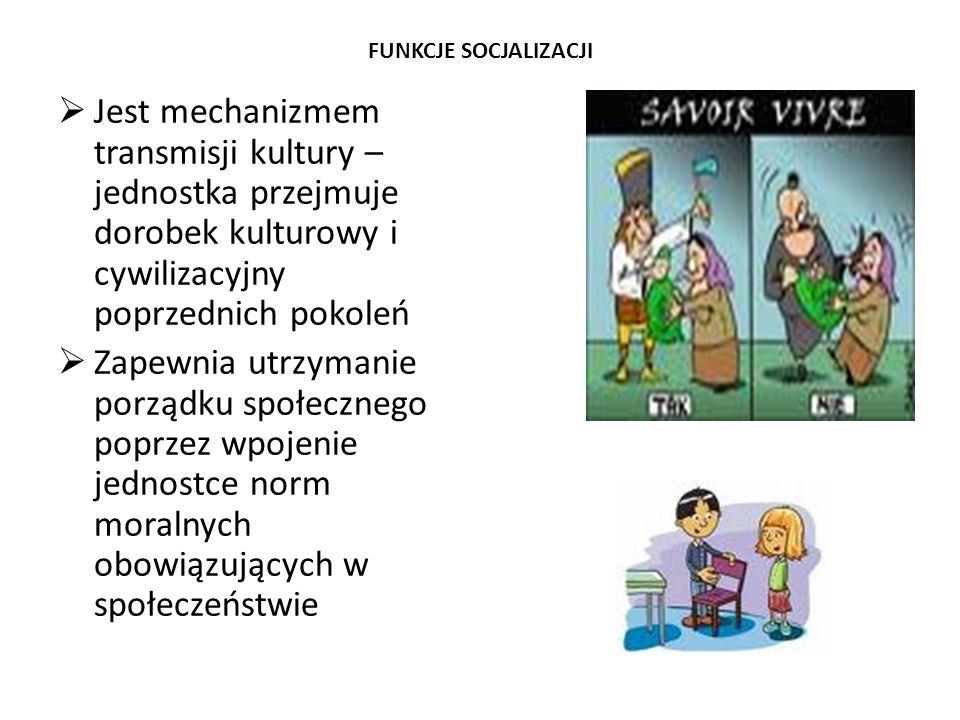 FUNKCJE SOCJALIZACJI Jest mechanizmem transmisji kultury – jednostka przejmuje dorobek kulturowy i cywilizacyjny poprzednich pokoleń.