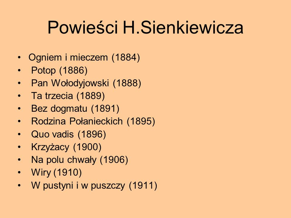Powieści H.Sienkiewicza