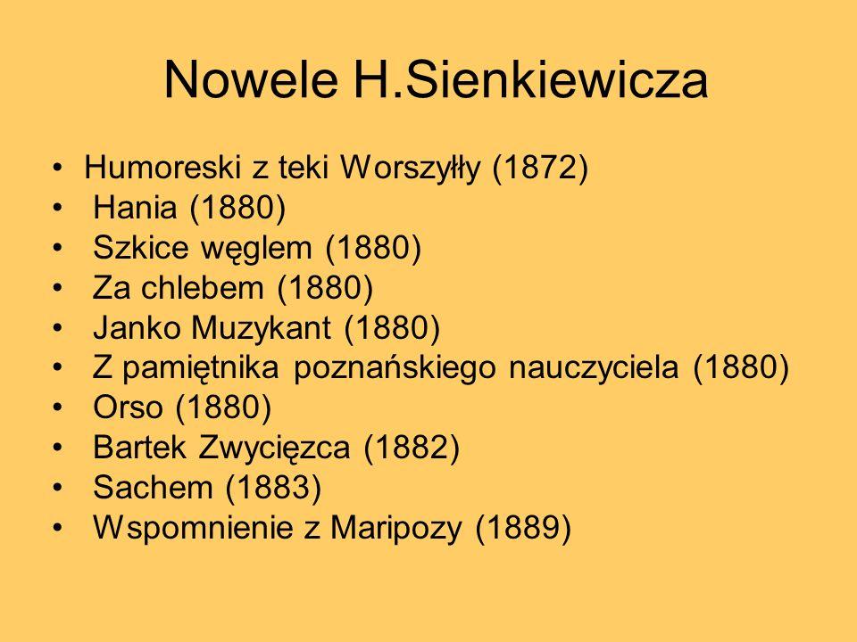Nowele H.Sienkiewicza Humoreski z teki Worszyłły (1872) Hania (1880)