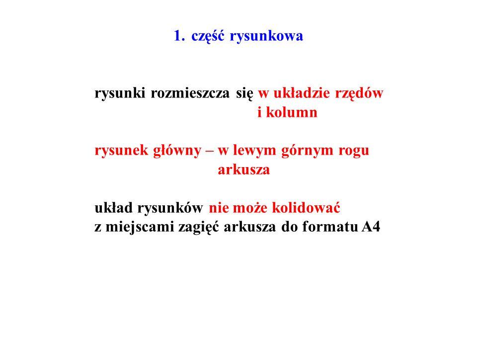 część rysunkowa rysunki rozmieszcza się w układzie rzędów. i kolumn. rysunek główny – w lewym górnym rogu.