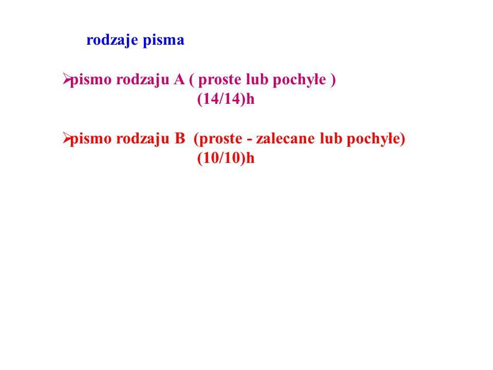 rodzaje pisma pismo rodzaju A ( proste lub pochyłe ) (14/14)h. pismo rodzaju B (proste - zalecane lub pochyłe)