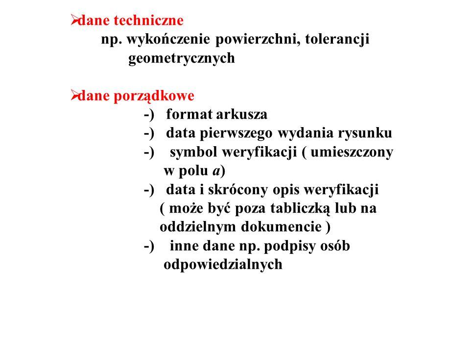 dane techniczne np. wykończenie powierzchni, tolerancji. geometrycznych. dane porządkowe. -) format arkusza.