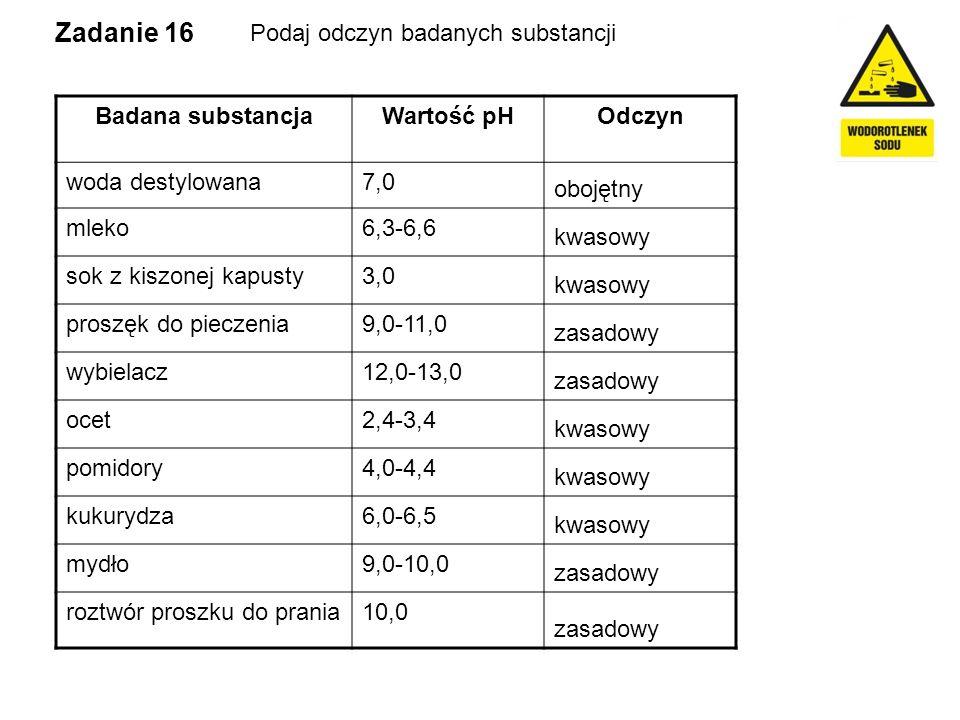 Zadanie 16 Podaj odczyn badanych substancji Badana substancja