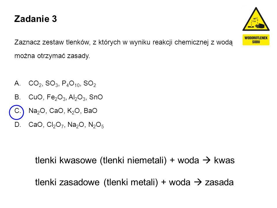 tlenki kwasowe (tlenki niemetali) + woda  kwas