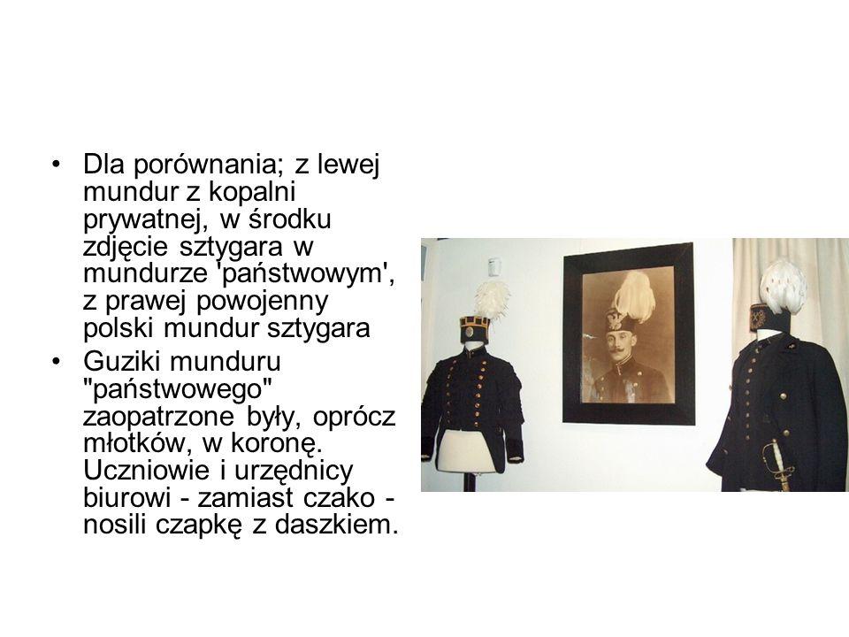 Dla porównania; z lewej mundur z kopalni prywatnej, w środku zdjęcie sztygara w mundurze państwowym , z prawej powojenny polski mundur sztygara