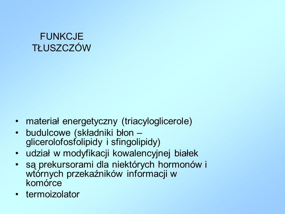 FUNKCJE TŁUSZCZÓW materiał energetyczny (triacyloglicerole) budulcowe (składniki błon – glicerolofosfolipidy i sfingolipidy)