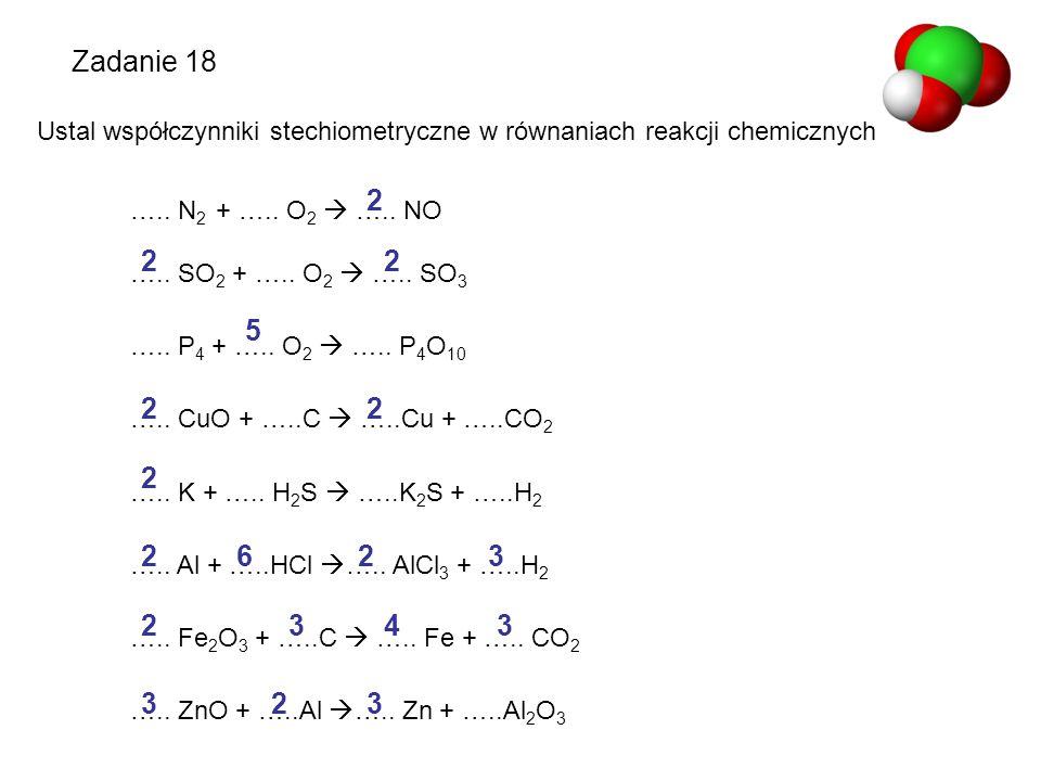 Ustal współczynniki stechiometryczne w równaniach reakcji chemicznych