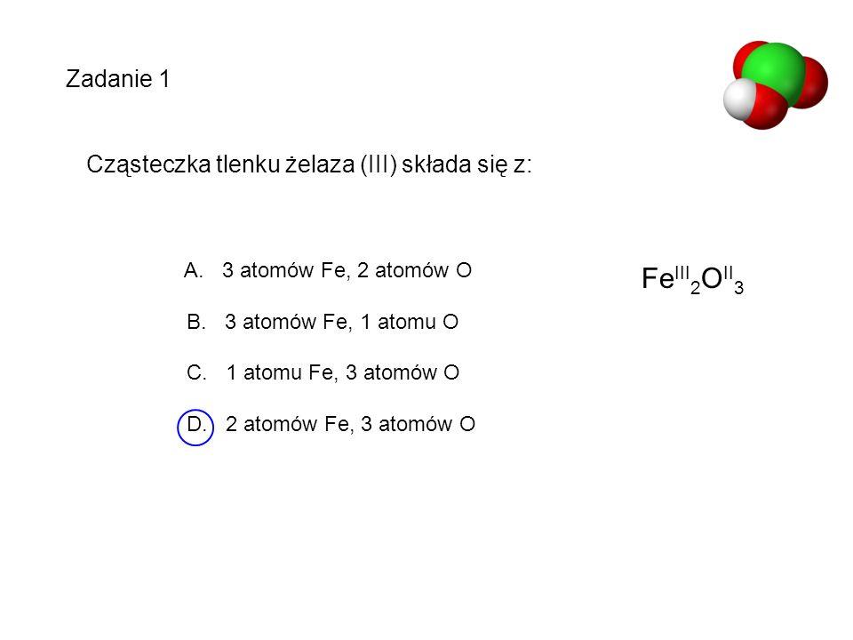 Cząsteczka tlenku żelaza (III) składa się z: