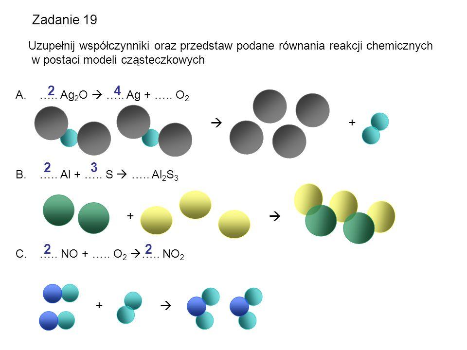 Zadanie 19 Uzupełnij współczynniki oraz przedstaw podane równania reakcji chemicznych. w postaci modeli cząsteczkowych.