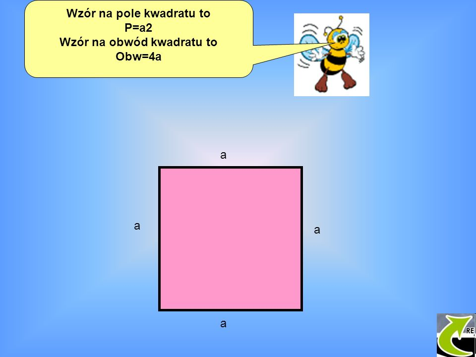 Wzór na pole kwadratu to Wzór na obwód kwadratu to