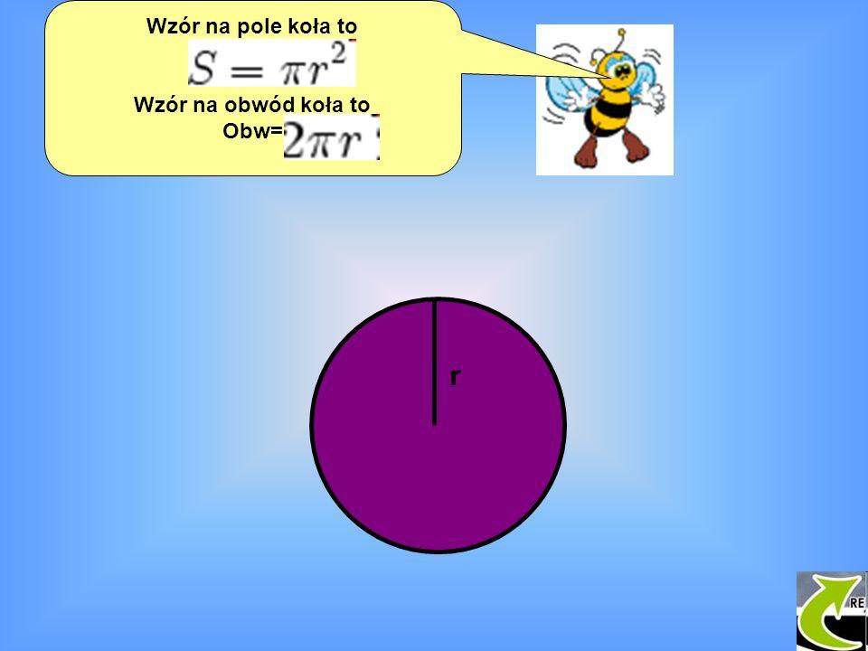 Wzór na pole koła to P= Wzór na obwód koła to Obw= r