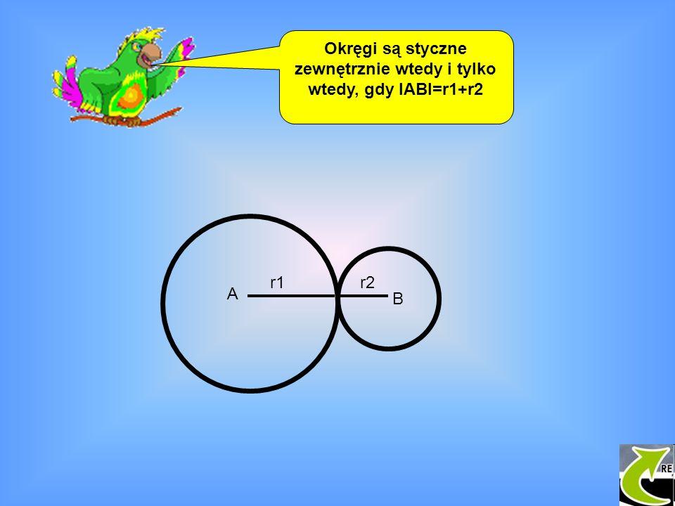 Okręgi są styczne zewnętrznie wtedy i tylko wtedy, gdy IABI=r1+r2