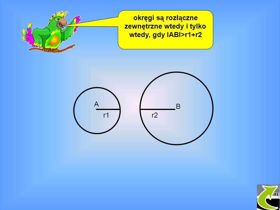 okręgi są rozłączne zewnętrzne wtedy i tylko wtedy, gdy IABI>r1+r2
