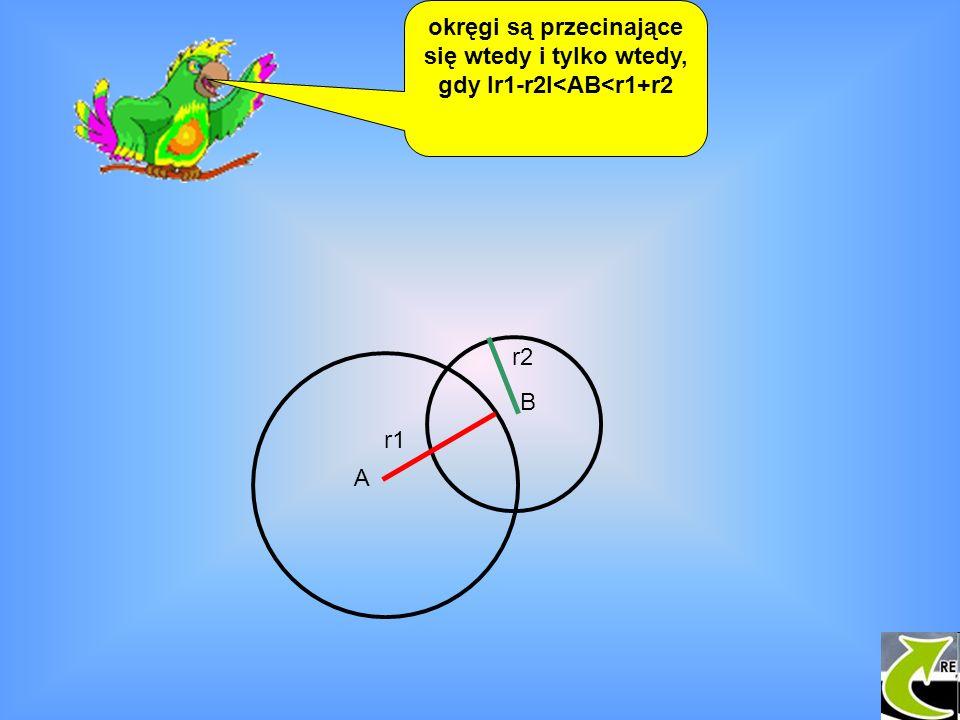 okręgi są przecinające się wtedy i tylko wtedy, gdy Ir1-r2I<AB<r1+r2