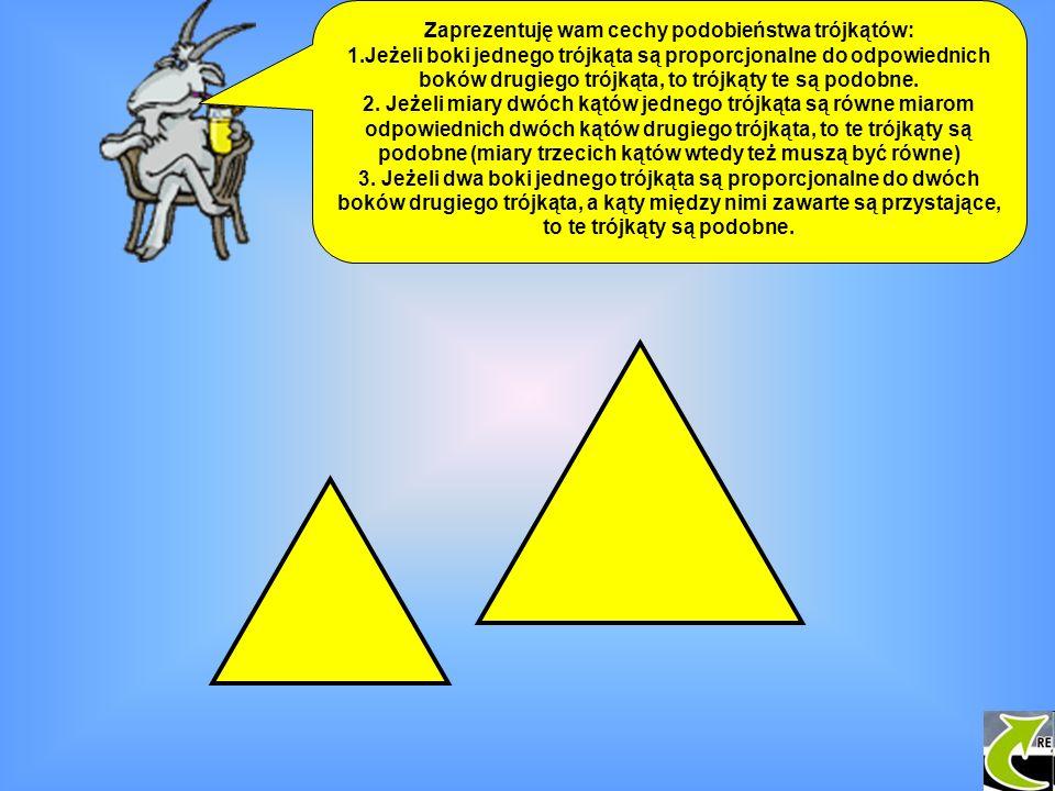 Zaprezentuję wam cechy podobieństwa trójkątów: