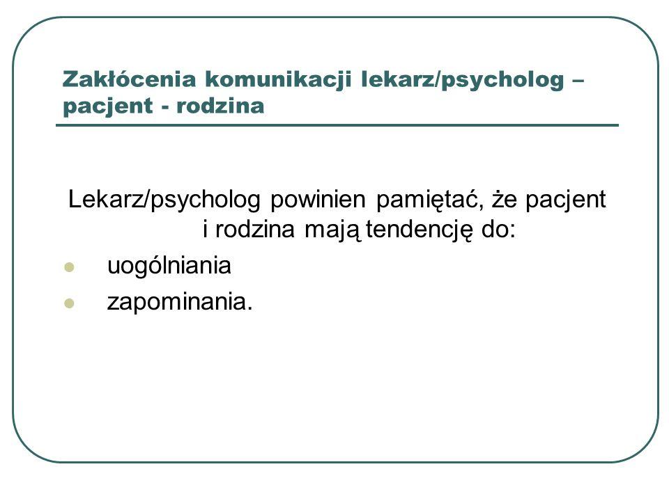 Zakłócenia komunikacji lekarz/psycholog – pacjent - rodzina
