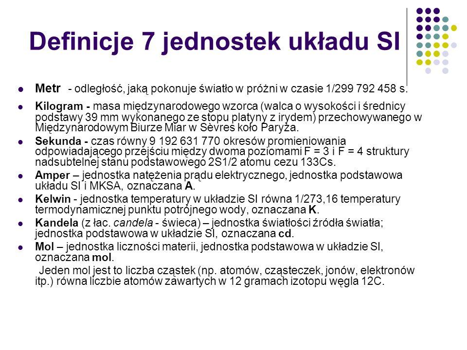 Definicje 7 jednostek układu SI