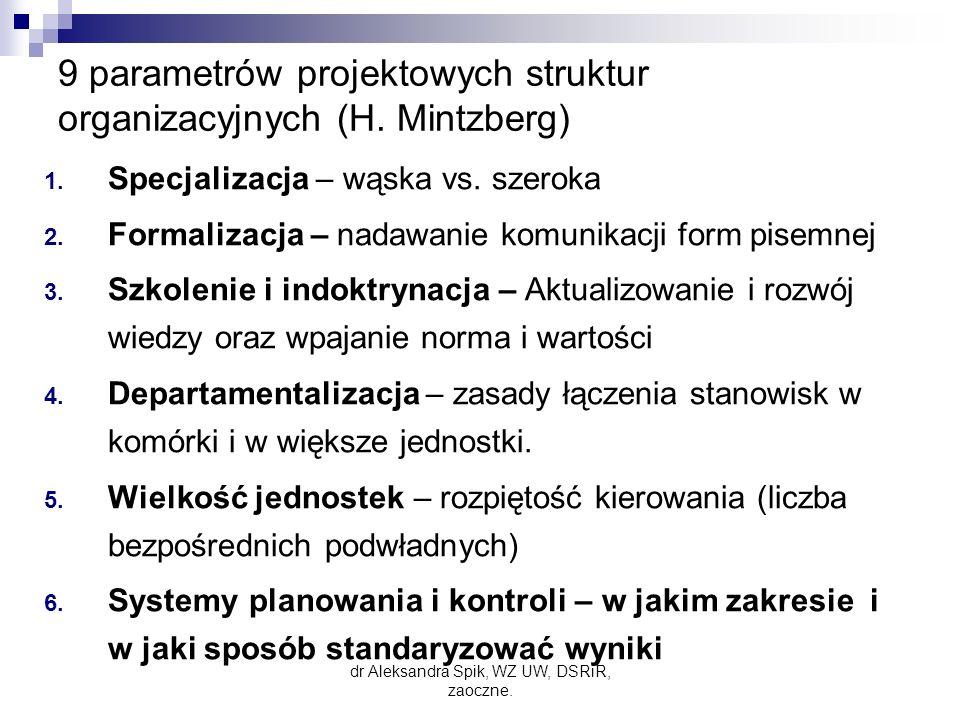 9 parametrów projektowych struktur organizacyjnych (H. Mintzberg)