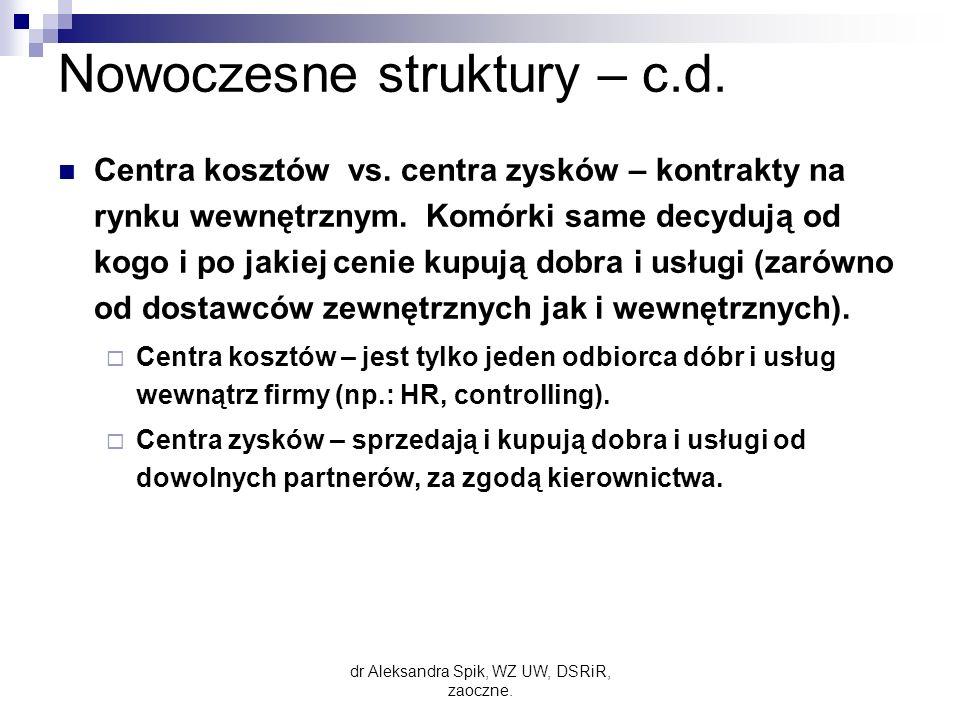 Nowoczesne struktury – c.d.
